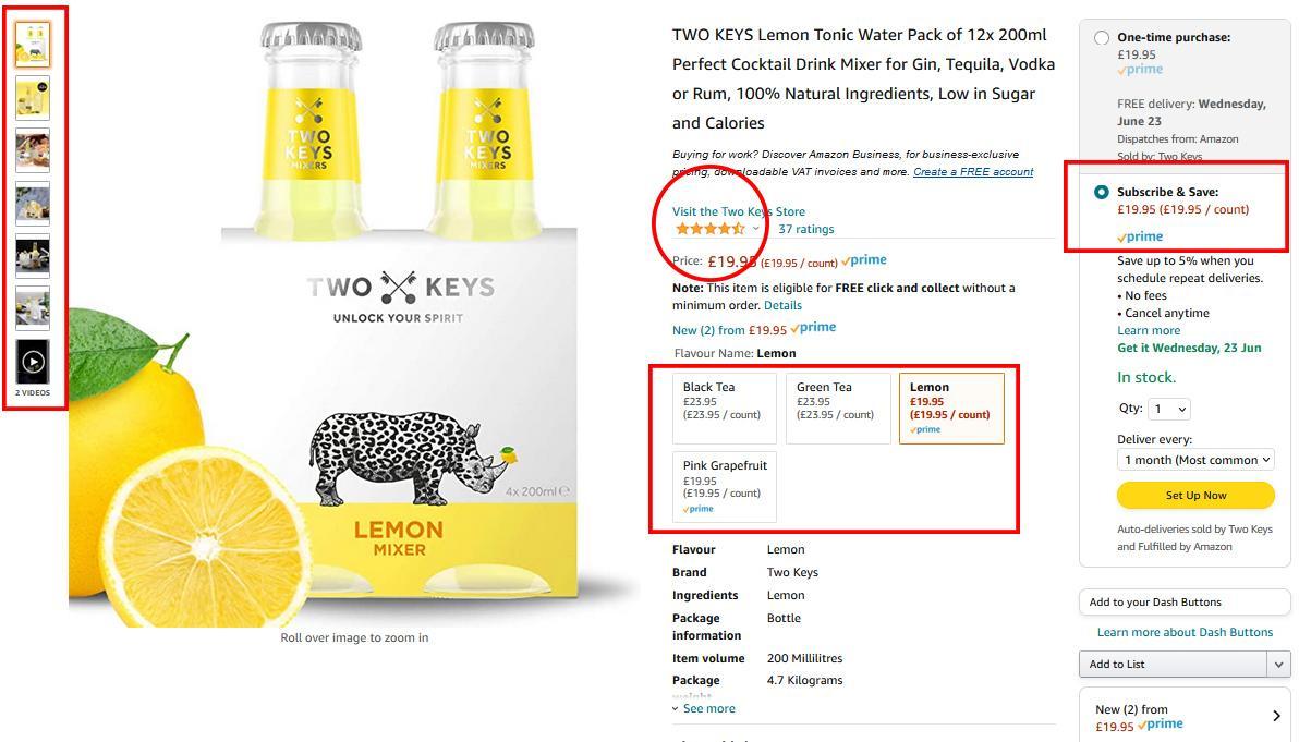 Capture d'écran d'une liste Amazon pour le mélangeur Lemon Tonic Water