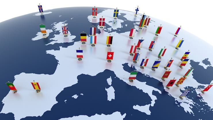 Map of Europe showing flags of the various countries