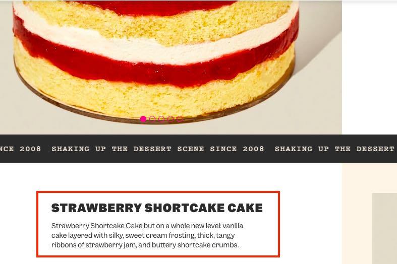 Screenshot of strawberry shortcake product page