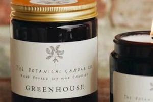 """Image of a """"greenhouse scented"""" candle from Botanical Candle Co"""
