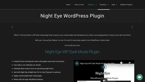 Home page of Night Eye WordPress Plugin
