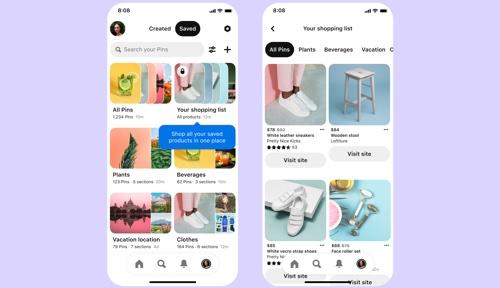 Capture d'écran de la page de la salle de rédaction Pinterest sur deux écrans de smartphone