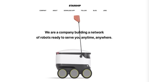 Home page of Starship Technologies