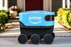 Photo of an Amazon Scout vehicle-bot
