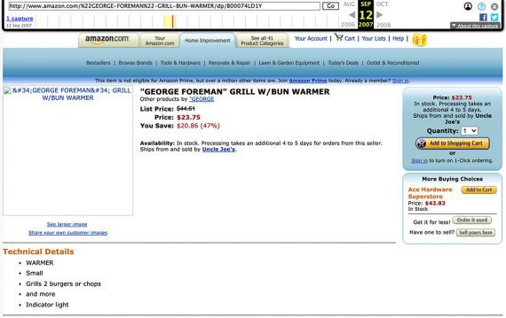 Screenshot from 2007 of George Forman Grill on Amazon.