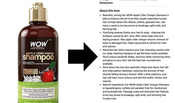 Screenshot from Amazon of the extended description for Wow Apple Cider Vinegar Shampoo