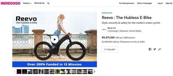 Screenshot of Indiegogo home page showing Reevo