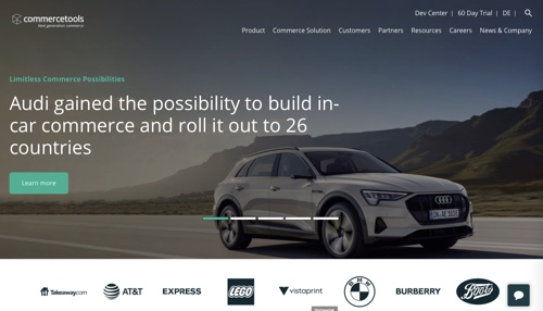 Home page of Commercetools