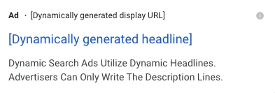 Screenshot from Google showing the framework for a dynamic search ad.