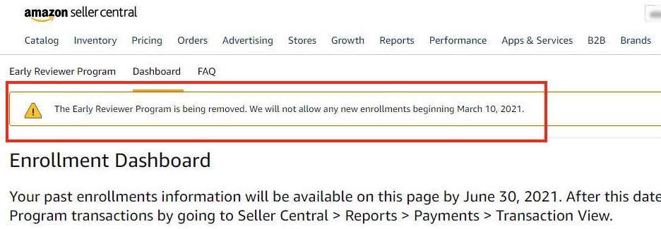 Amazon notice as posted in Seller Central, announcing the closing of the Early Review Program.