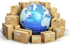 Illustration of a globe with shipping boxes surrounding it