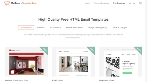Home page of MailBakery Template Store