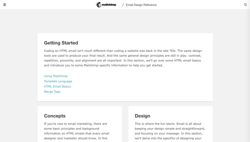 Home page of MailChimp Email Blueprints