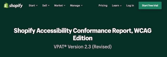Screenshot of a VPAT page on Shopify
