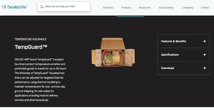 Screenshot of TempGuard from Sealed Air