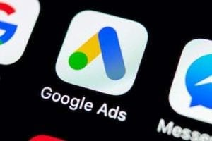 Photo of a smartphone screen showing the Google Ads icon