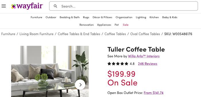 "Screenshot of ""Tuller Coffee Table"" page on Wayfair."