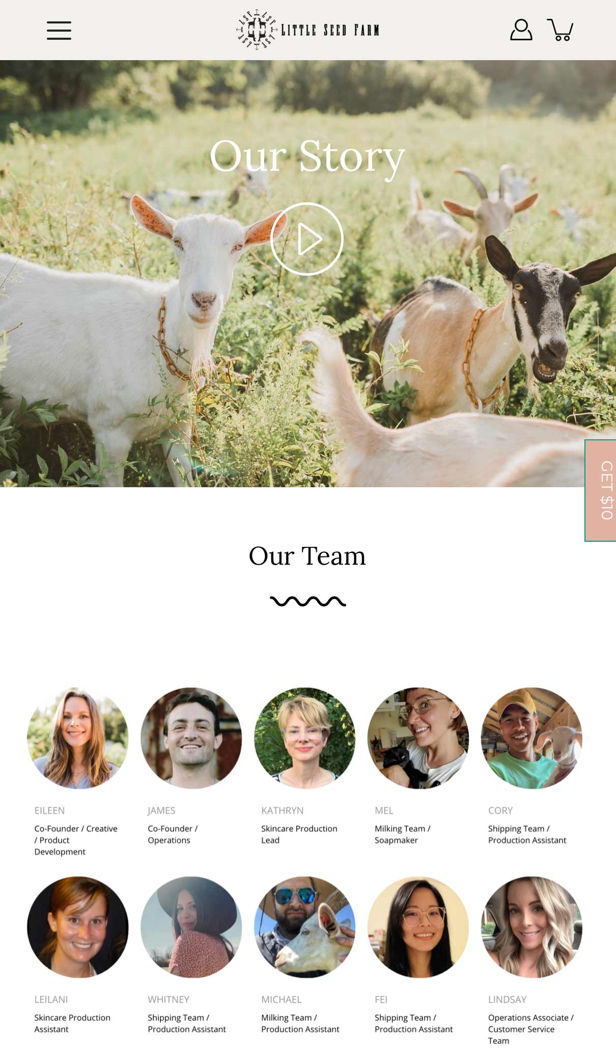 Little Seen Farm About Us page with video and images of staff