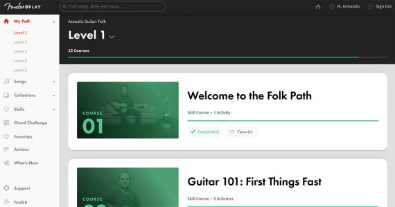 Screenshot of Fender Play web page