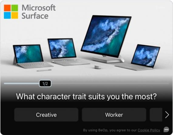 """Screenshot from BeOp of a Microsoft Surface ad campaign with a question, """"What character trait suits you the most?"""""""