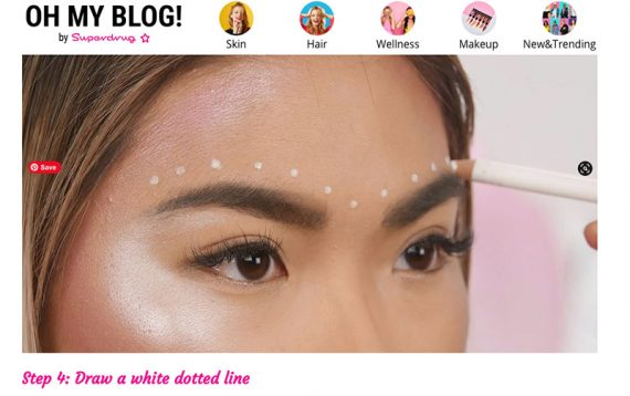 Screenshot from the Superdrug makeup tutorial