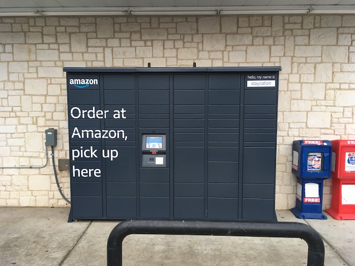 Photo of an Amazon Locker in a small town in west Texas.
