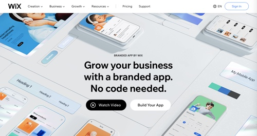 Home page of Branded App by Wix