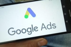 Image of Google Ads logo on an iPhone screen