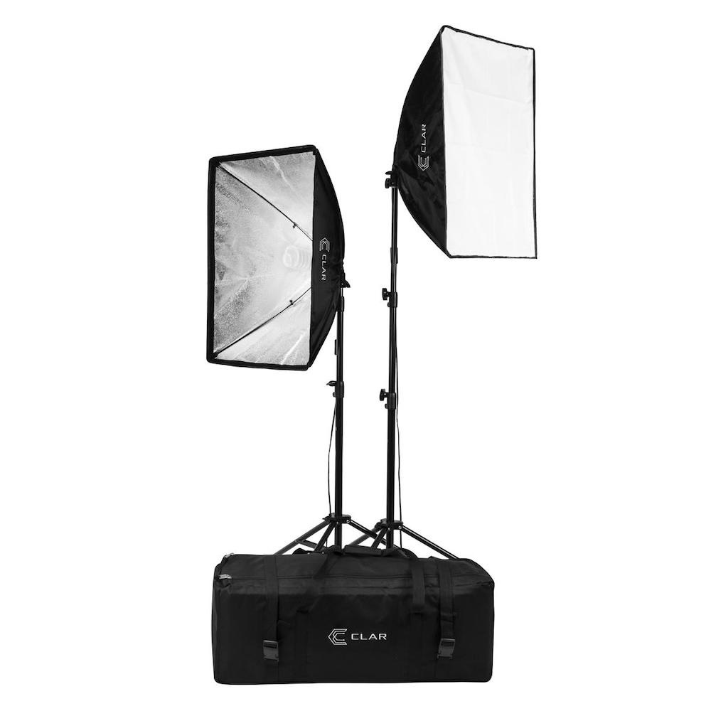 Photo from Adorama of CLAR's continuous fluorescent lighting kit