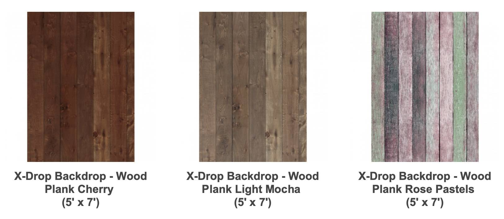 Photo of three types of canvas backdrops that resemble wood from