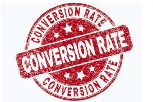 """Illustration of a stamp that reads """"Conversion Rate"""""""