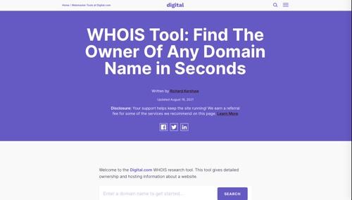Home page of Digital.com's WHOIS Tool