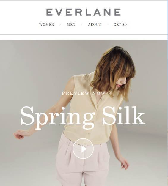 Screenshot of an email from Everlane showing a female modeling clothes with a video botton on top of the image