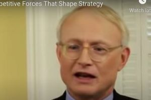 Screenshot from YouTube video showing Michael Porter speaking