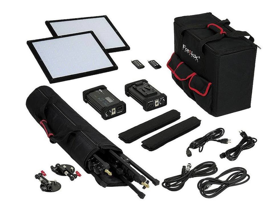 Image from Adorama of Fotodiox's SF50 SkyFiller 1x1' 50w Bi-Color Powerful & Ultra-Portable 2 LED Light Kit