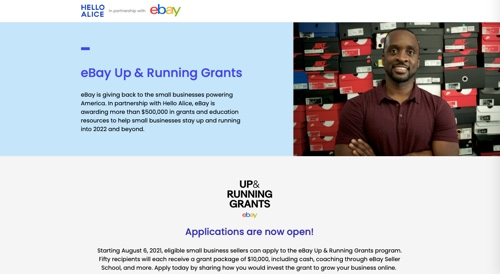 Home page of eBay's Up & Running Grants