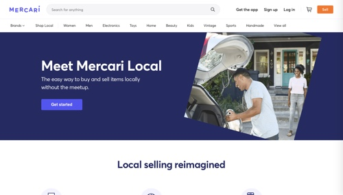 Home page of Mercari Local