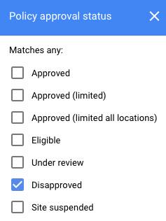 """Screenshot of """"Policy approval status"""" interface in Google Ads"""