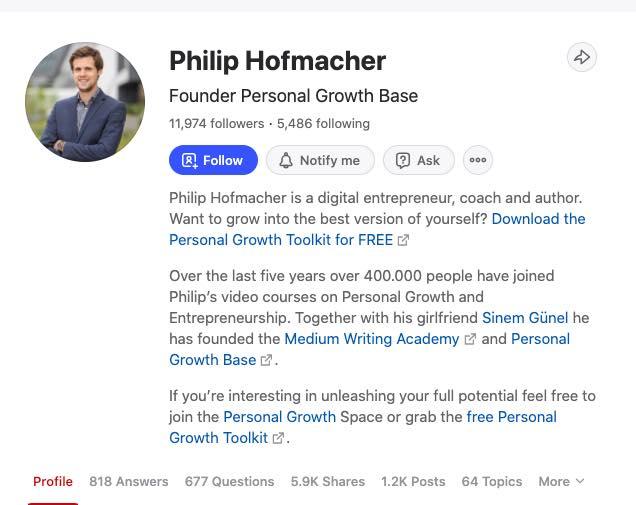 Screenshot of Philip Hofmacher's profile on Quora