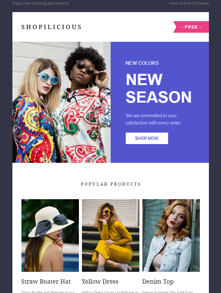 Screenshot of a Shopilicious email with 4 images and minimal text