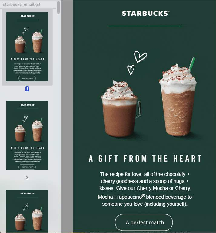 Screenshot of an animated GIF email from Starbucks showing all four pane.