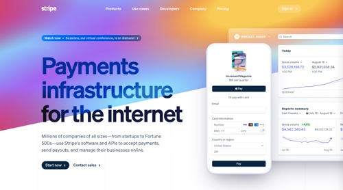 Home page of Stripe