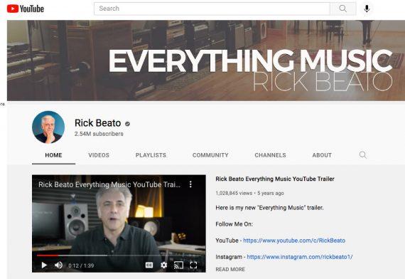 Screenshot of Rick Beato's YouTube page