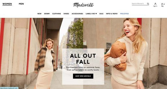Home page of Madewell