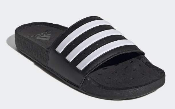 Profile shot from Adidas.com of a black sandal.