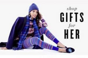 """Screenshot for J.Crew's holiday email gift guide showing a feamle with text """"Shop Gifts for Her"""""""