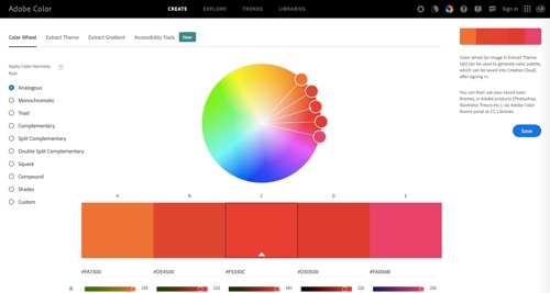 Home page of Adobe Color