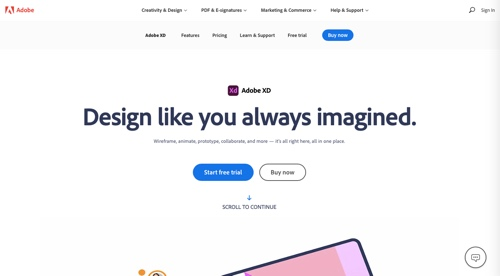 Home page of Adobe XD