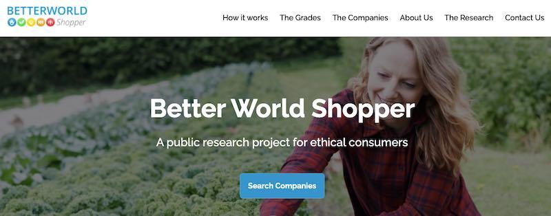 Home page of Betterworld Shopper