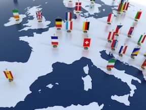 Illustration of the E.U. map with countries flags on it